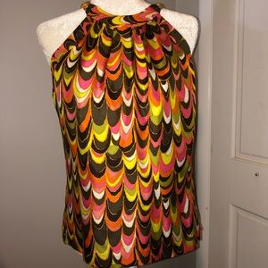 NWOT Milly 100% Silk Multicolor sleeves shirt